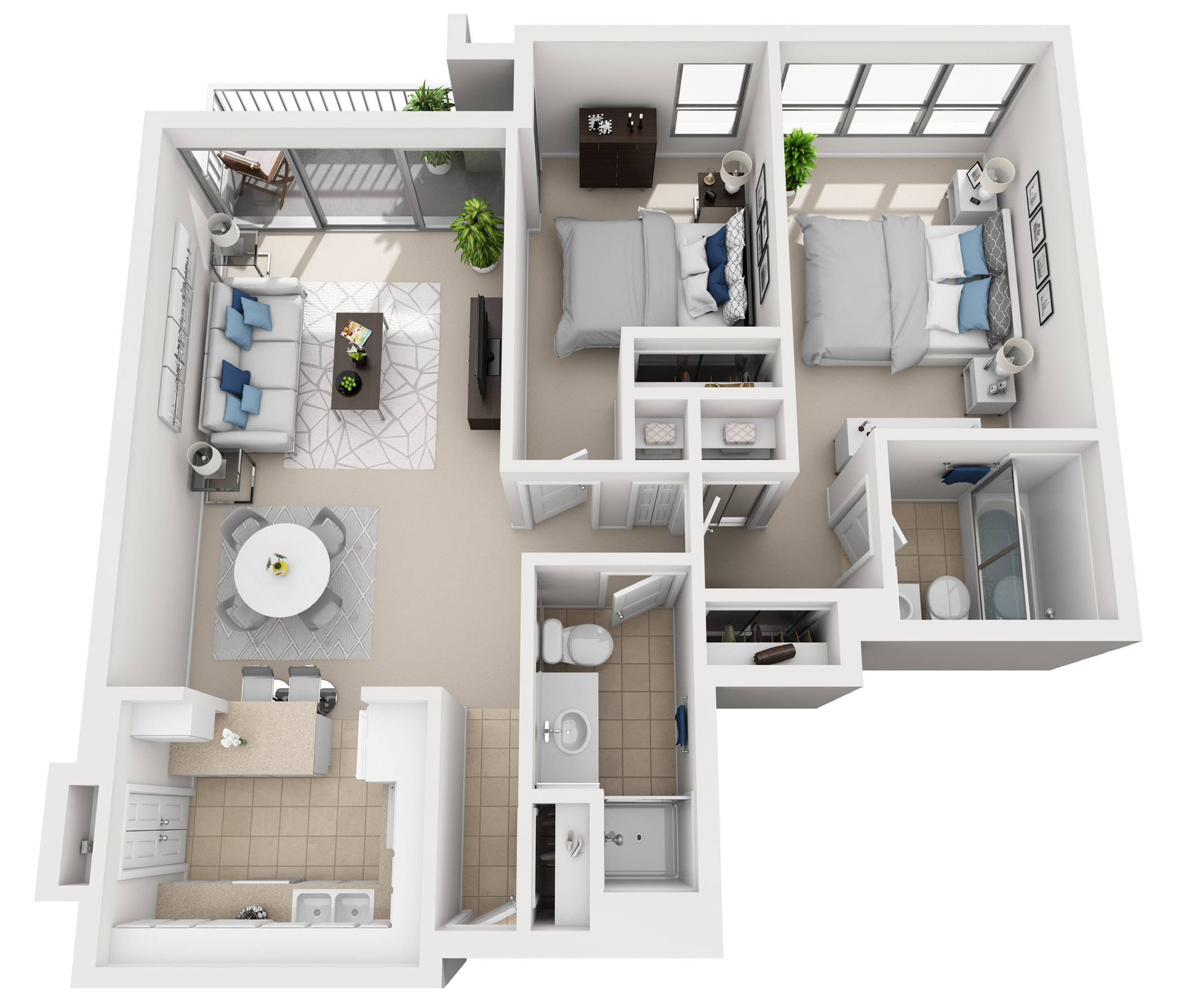 Model A - Two bedroom apartment floor plan at The Shores